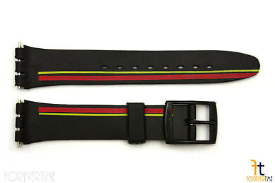 12mm Ladies Red/Yellow Stripes Design Black Watch Band Strap fits SWATCH watches - Forevertime77