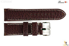 Bandenba 22mm Genuine Dark Brown Textured Leather White Stitched Watch Band