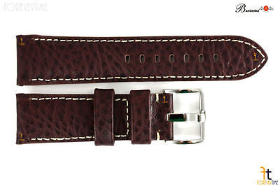 Bandenba 24mm Genuine Dark Brown Textured Leather White Stitched Watch Band - Forevertime77