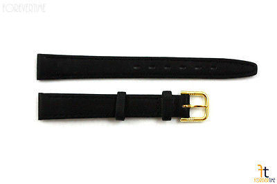 12mm Genuine Black Leather Stitched Watch Band Strap Gold Tone Buckle - Forevertime77