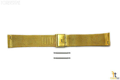 18mm Stainless Steel Mesh (Gold Tone) Watch Band w/ 2 Spring Bars - Forevertime77
