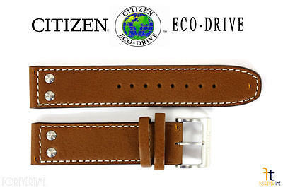 Citizen 59-S52724 Original Replacement 22mm Brown Leather Watch Band Strap - Forevertime77