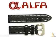 ALFA 24mm Black Genuine Textured Leather Watch Band Strap Anti-Allergic