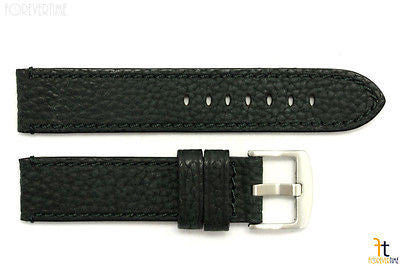20mm Black Textured Leather Watch Band w/Stitches Fits Luminox Anti-Allergic - Forevertime77