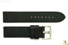 20mm Black Textured Leather Watch Band w/Stitches Fits Luminox Anti-Allergic