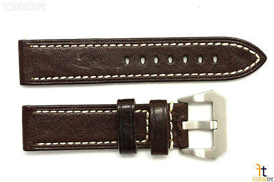 22mm Dark Brown Textured Leather Watch Band Strap Fits Luminox Anti-Allergic - Forevertime77