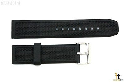 22mm Texture Italian Heavy Black Rubber Watch BAND Strap FIT LUMINOX S/S Buckle - Forevertime77