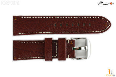 Bandenba 22mm Genuine Brown Textured Leather Panerai White Stitched Watch Band - Forevertime77