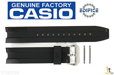 CASIO EMA-100-1AV Edifice Original 20mm Black Rubber Watch Band Strap w/ Pins - Forevertime77