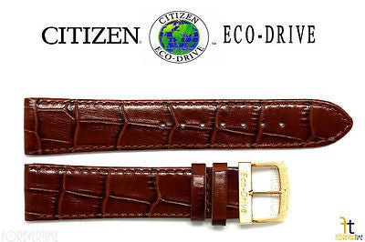Citizen 59-S51352 Original Replacement 20mm Brown Leather Watch Band 59-S51526 59-S51267 - Forevertime77