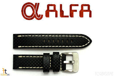 ALFA 26mm Carbon Fiber Genuine Leather Black Watch Band Strap Anti-Allergic - Forevertime77