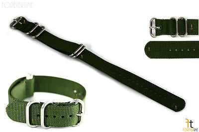 20mm Fits Luminox Nylon Woven Green Watch Band Strap 4 S/S Rings - Forevertime77