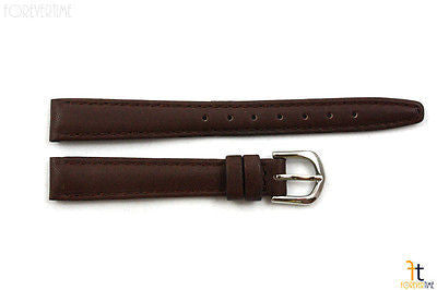 12mm Genuine Dark Brown Leather Stitched Watch Band Strap Silver Tone Buckle - Forevertime77