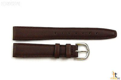 14mm Genuine Dark Brown Leather Stitched Watch Band Strap Silver Tone Buckle - Forevertime77
