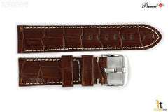 Bandenba 24mm Genuine Brown Crocodile Grain Leather White Stitched Watch Band