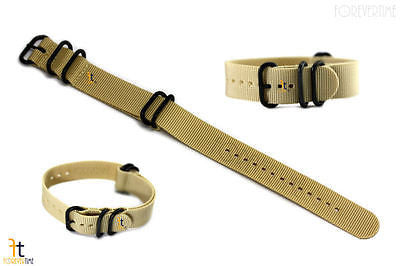 22mm Fits Luminox Nylon Woven Beige Watch Band Strap 4 Black S/S Rings - Forevertime77