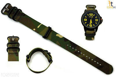 20mm Fits Luminox Nylon Woven Camouflage Watch Band Strap 4 Black S/S Rings - Forevertime77