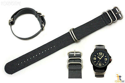 22mm Fits Luminox Nylon Woven Grey Watch Band Strap 4 Stainless Steel Rings - Forevertime77