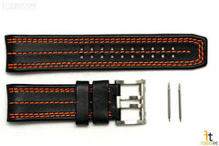 Luminox 1128 Tony Kanaan 26mm Leather Black / Orange Watch Band Strap 1120