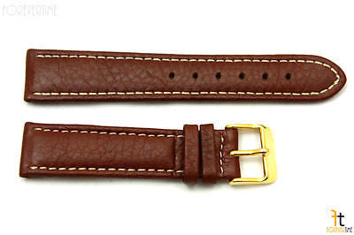 20mm Genuine Brown Leather Watch Band Strap Gold Tone Buckle for Heavy Watches - Forevertime77