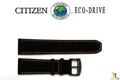 Citizen 59-S52631 Original Replacement 23mm Black Leather Watch Band Strap w/ Orange Stitching