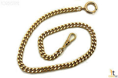 "13.5"" Gold Plated Stainless Steel Flat Link Pocket Watch Chain w/ Spring Ring"