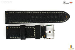 Bandenba 24mm Genuine Black Textured Leather Panerai White Stitched Watch Band