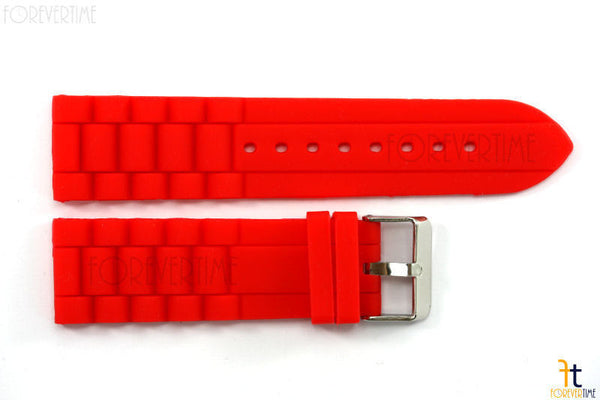 22mm Fits Fossil Red Silicon Rubber Watch BAND Strap - Forevertime77