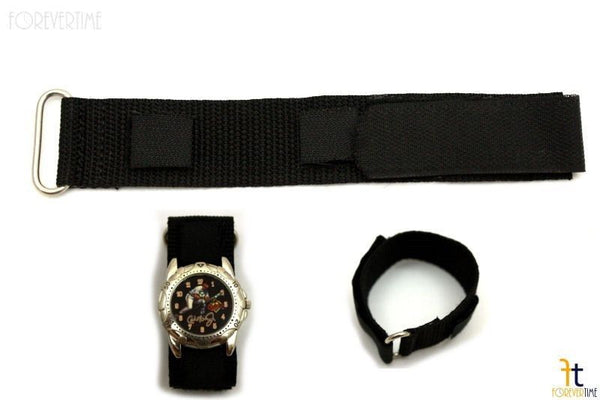 18mm Nylon Woven Black Watch Band Strap Stainless Steel  Ring - Forevertime77