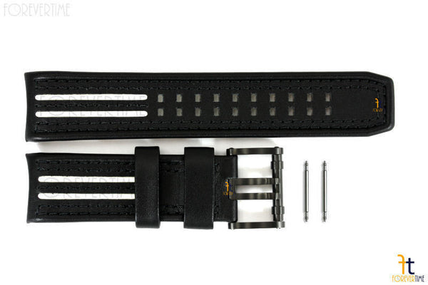 Luminox 1140 Tony Kanaan 26mm Black Leather White Stripes Watch Band Strap 1148 - Forevertime77