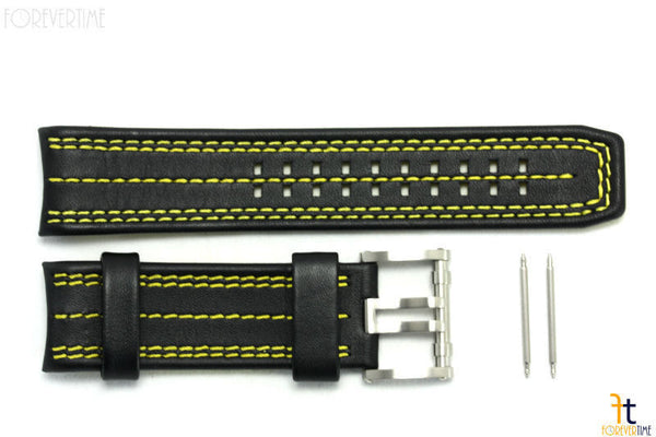 Luminox 1138 Tony Kanaan 26mm Leather Black / Yellow Watch Band Strap 1130 - Forevertime77