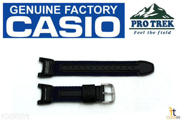 CASIO Pro Trek PRS-400B-2 Original Black / Navy Blue Leather Watch BAND Strap - Forevertime77