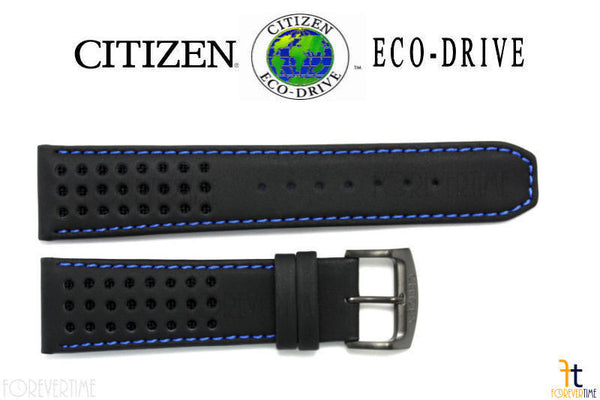 Citizen 59-S52630 Original Replacement 23mm Black Leather Watch Band Strap w/ Blue Stitching - Forevertime77