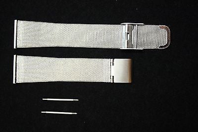 18mm Fits Mondaine Stainless Steel Mesh Watch Band Strap w/ 2 Spring Bars - Forevertime77
