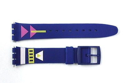 17mm Men's Arrow Pattern Replacement Blue Watch Band Strap fits SWATCH watches - Forevertime77