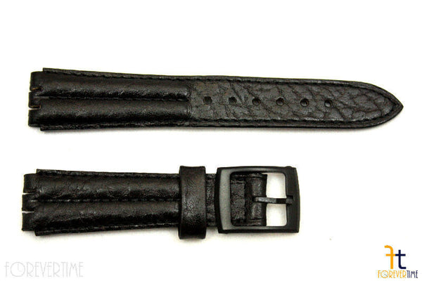 18mm Men's Padded Black Leather Replacement Band Strap fits SWATCH watches - Forevertime77