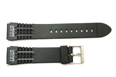 19mm fits Timex Ironman Triathlon Black Rubber Watch Band Strap w/ 2 Pins - Forevertime77