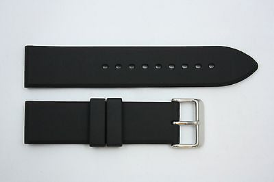 22mm Plain Heavy Italian Black Rubber Watch BAND Strap FITS Luminox S/S Buckle - Forevertime77