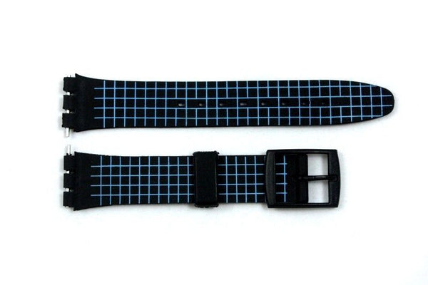 17mm Neon Blue Checkered PVC Replacement Watch Band Strap fits SWATCH watches - Forevertime77