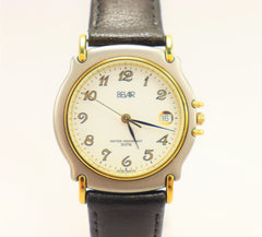 BELAIR Unisex Swiss Quartz Movement Brushed Stainless Steel Gold Plated Watch Vintage NEW