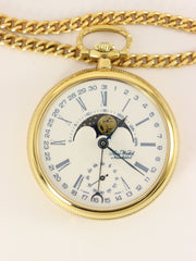 Aero Neuchatel Gold Plated Mechanical Pocket Watch with Moon Phase