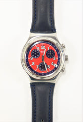 Swatch Irony Chrono Watch Black Leather Band Red Dial Stainless Steel with Date