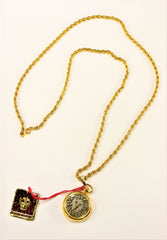 Anne Klein Ladies Necklace Watch Gold Plated Lion face Rare 1980's