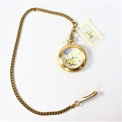 TIMEX Winnie the Pooh Gold Plated Pocket Watch w/chain (rotating bees)