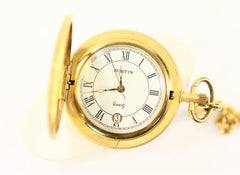 Austine Gold Plated Pocket Watch with Date and Chain Vintage Brand New 1980's