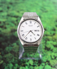 SEIKO Stainless Steel Silver Watch with Day/Date Unisex Vintage New 1990's