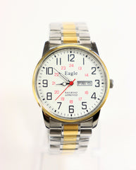 Eagle Quartz Railroad Approved Men's Two-Tone Stainless Steel Watch w/Day & Date