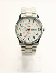 Eagle Quartz Railroad Approved Men's Stainless Steel Watch w/Day & Date