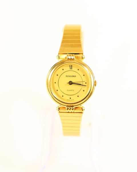 SUNLORD Swiss Made Ladies Watch Gold Plated Vintage New 1990's