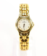 Christian Bernard Ladies 18K Gold Plated Stainless Steel Watch with Date 1990's Vintage New with Tag
